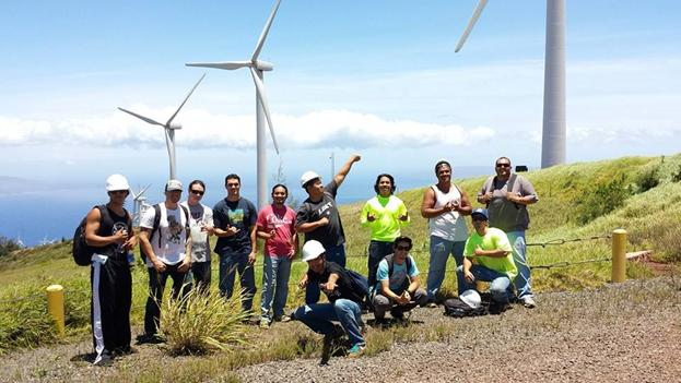 ʻIKE (Indigenous Knowledge in Engineering) program student at the Kaheawa Wind Farm on Maui