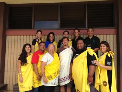 Group photo of Hawaiian Studies and Hawaiian language coordinators from the UHCC system