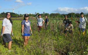 Second group photo of staff and students at Pouhala Marsh