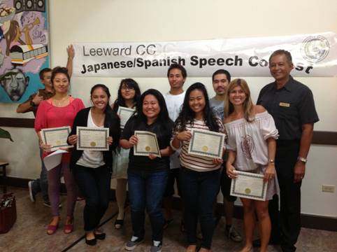 Award winners at the 5th Annual Speech Contest for Japanese and Spanish language