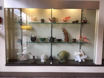 Display case of student ceramic work