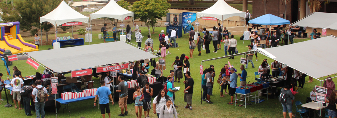 Overhead shot of College Bash, tents, activities and students in Tuthill Courtyard