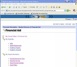 financial aid on MyUH portal