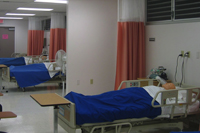 health classroom with hospital bed set-up