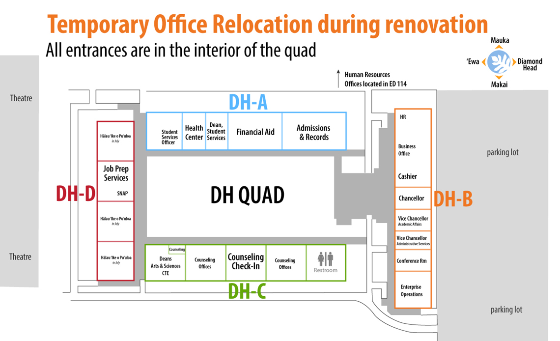 diagram of temporary office locations in the DH Quad