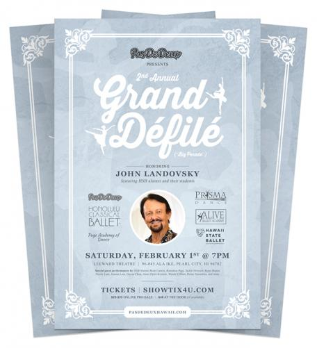 Grand Defile poster with image of John Landovsky and event details