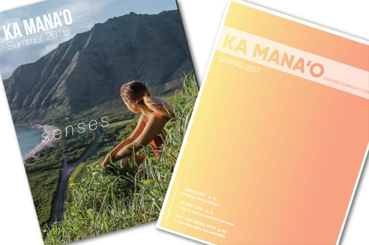 Covers from last two issue of Ka Manao--reflective girl sitting on hillside looking at the ocean; graduated yellow to orange solid color cover
