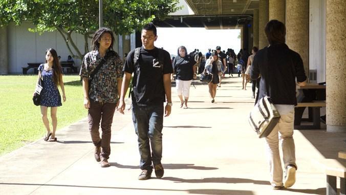 Students walking on Leeward campus