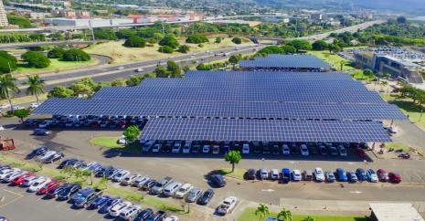 aerial view of photovoltaic panels forming a canopy over parking lot on campus