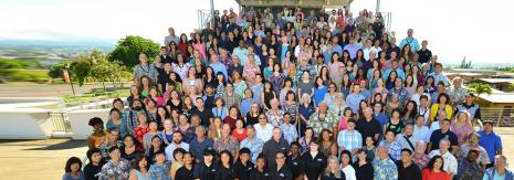 More than 200 of Leeward faculty and staff pose on the steps of the ED Bldg