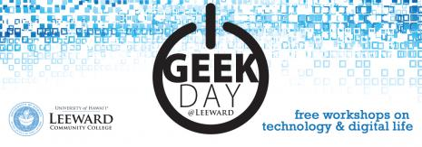 Power On sign against a field of blue squares used as logo for Geek Day