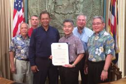Patrick Leddy, Bill Labby, Chancellor Cabral, Gov. Ige, Chritian Ganne and CTE Dean Ron Umehira