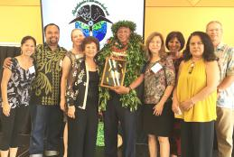 left to right: Summer Miles, Chris Pokipala, Della Teraoka, Helen Baligad, Chancellor Cabral, Patti Kimokeo, Aulii Silva, Lily Grace and Mark Lane