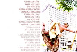 Tau Returns to Leeward Theatre. Peter Espiritu dancing in from of muted urban buildings