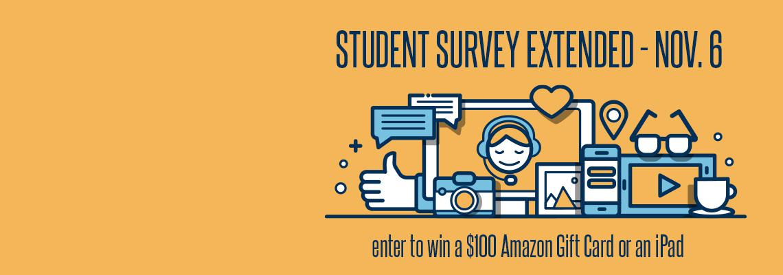 communication icons with text including survey extended deadline and grand prize of $100 Amazon Gift Card and iPad