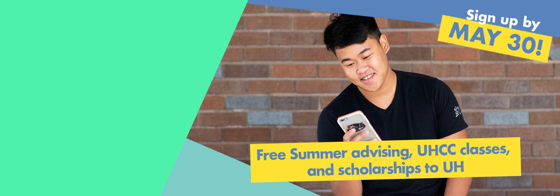 Young man sitting in front of wall looking at phone. Free summer advising, UHCC classes and scholarships to UH. Sign up by May 30!