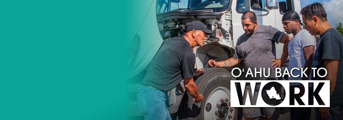 cdl instructor and students with Oahu back to work Logo inset
