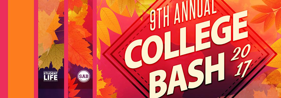 College Bash text on a filed of autum leaves