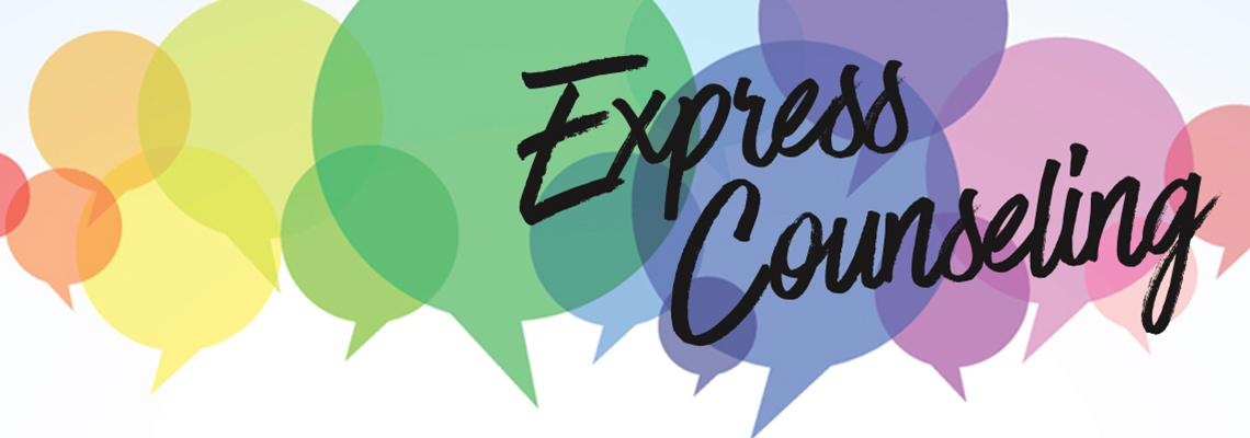 Express Counseling written over conversation bubbles
