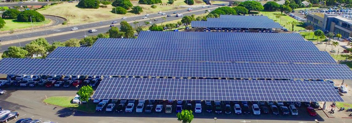 photovoltaic panels on parking canopies