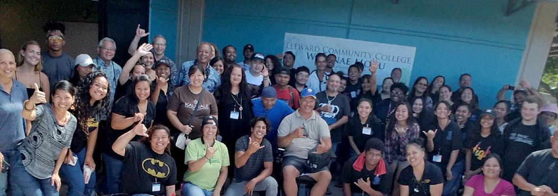 Faculty, staff and students at the Blessing of Waianae Moku