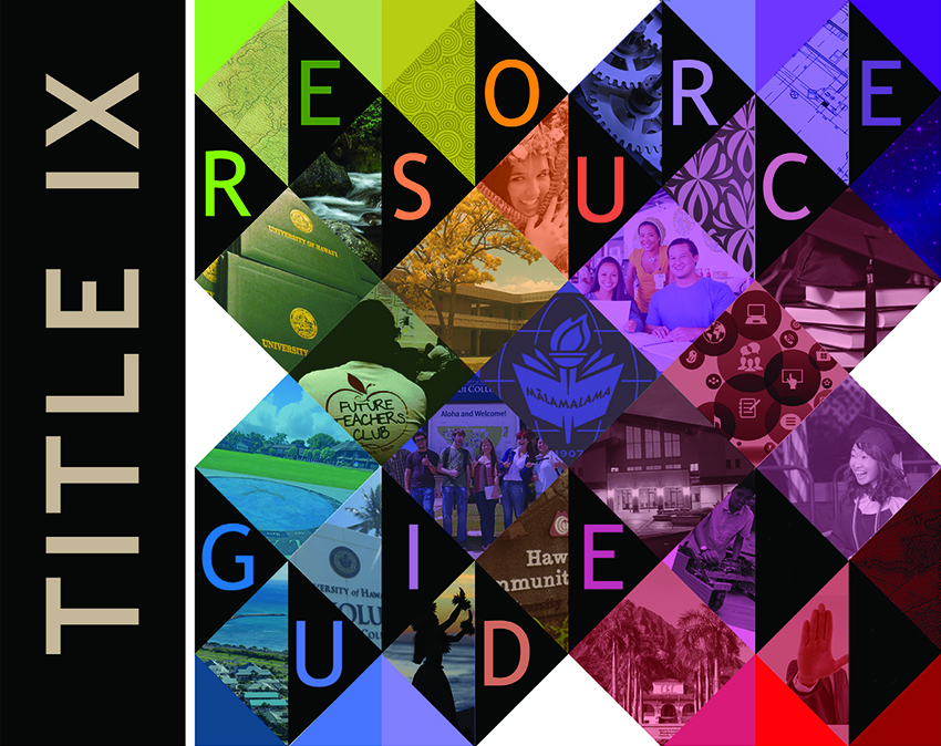 collage of images from all 10 campuses of the UH system with the words Title IX Resource Guide