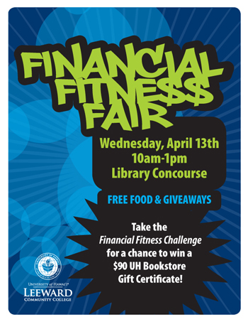 blue flyer with Financial Fitness Fair in white