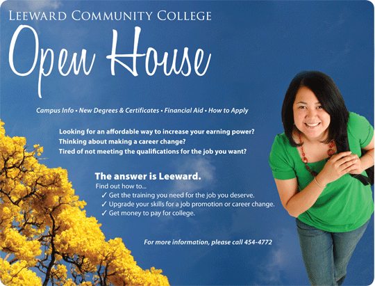 student on open house flier