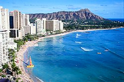 View of Waikiki Beach with Diamond Head in the background