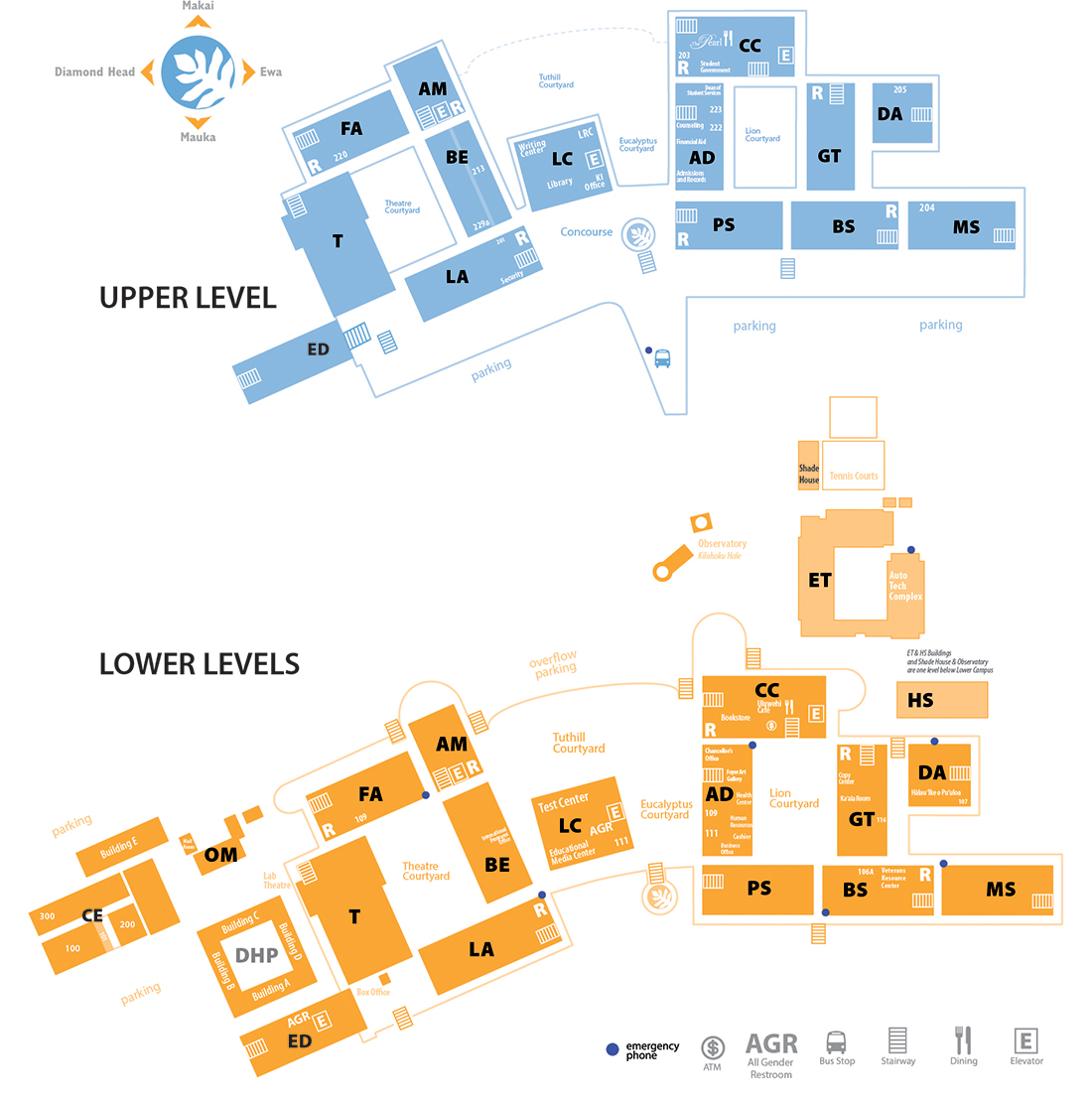 two level map of Pearl City campus