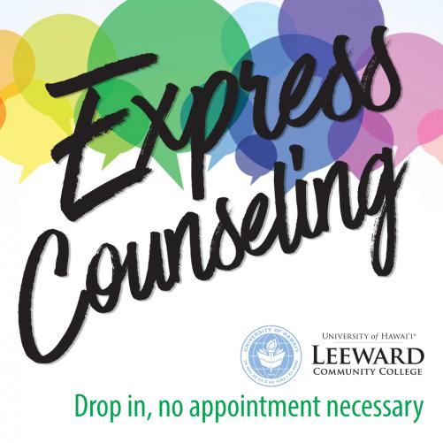 Express Counseling written over conversation bubbles; Drop in, no appointment necessary