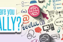 Social media icons and where are you socially message