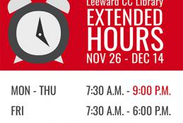 Library extended hours Nov 26 thru Dec 4