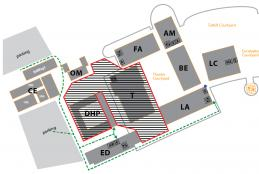 map showing theatre and all space directly surrounding the building will be restricted with no pedestrain traffic allowed during renovation