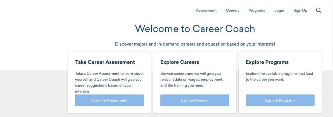 New Career Coach landing page with options to go through an assessment, or explore career options