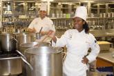 Stirring the large pots of gravy