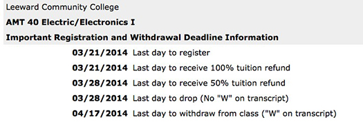 Screen shot of academic deadlines displayed
