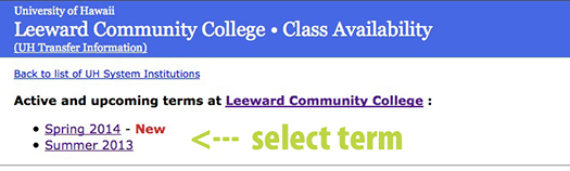 Screen shot of selecting a term on Class Availability web page